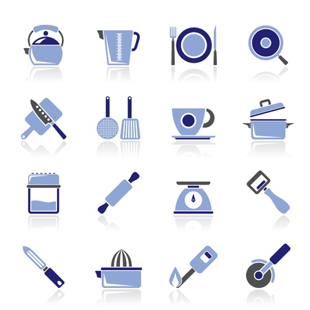 trencher: kitchen gadgets and equipment icons Illustration
