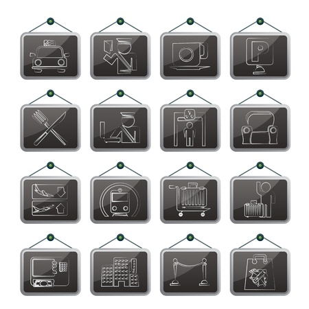 Airport, travel and transportation icons Illustration