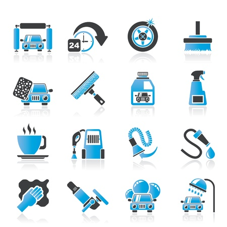 car wash objects and icons Illustration
