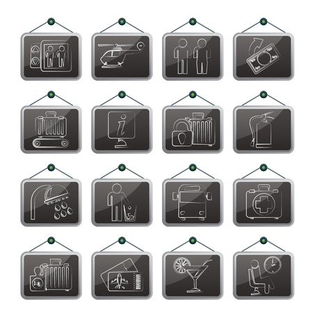 Airport, travel and transportation icons Stock Vector - 21926550