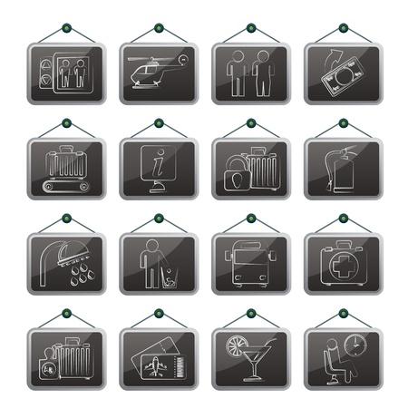 medical bills: Airport, travel and transportation icons Illustration