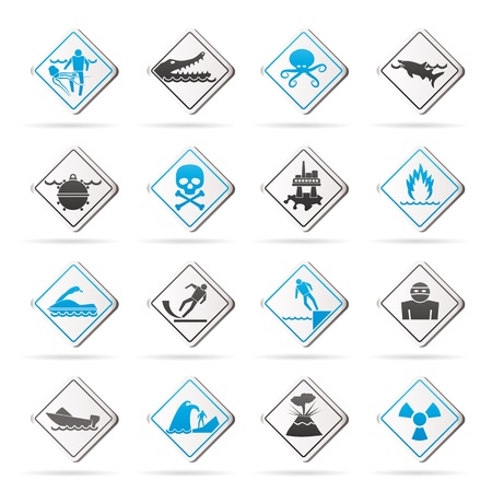Warning Signs for dangers in sea, ocean, beach and rivers Stock Vector - 21926552