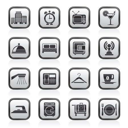 Hotel, motel and travel icons Vector