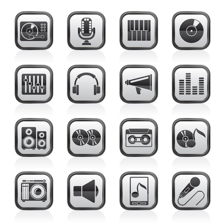 entertainment industry: Music and audio equipment icons Illustration