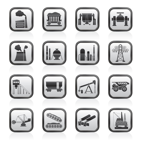 Heavy industry icons - vector icon set Vector Illustration