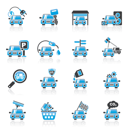 Car and road services icons - vector icon set Stock Vector - 22717621