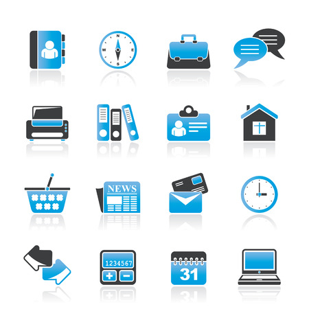 e house: Business and office icons - vector icon set