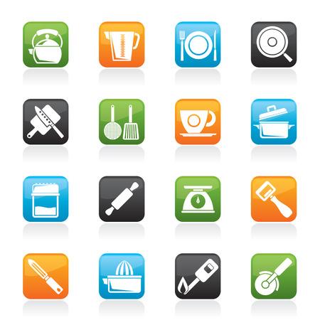 Küchenhelfer und Ausrüstung Symbole - Vektor-Icon-Set