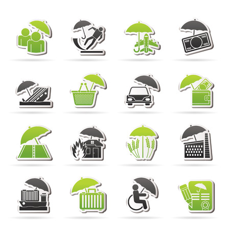 car bills: insurance, risk and business icons - vector icon set