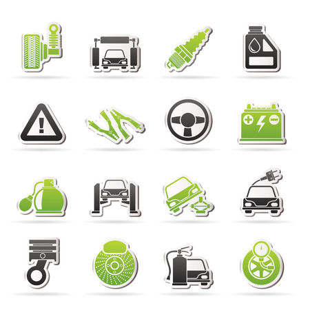 Car and road services icons - vector icon set Stock Vector - 22736300