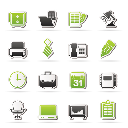 Business and office equipment icons - vector icon set Stock Vector - 22736301