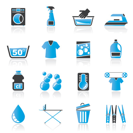 laundry detergent: Washing machine and laundry icons - vector icon set