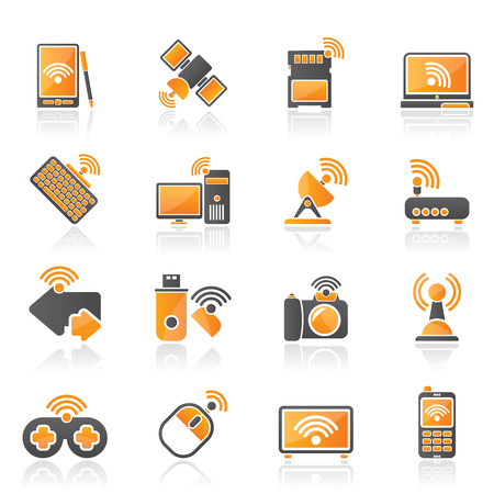Wireless and communications icons - vector icon set Stock Vector - 22737763