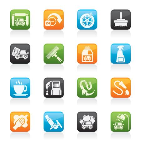 автомобили: мойка объектов и иконы - Векторный Икона Set