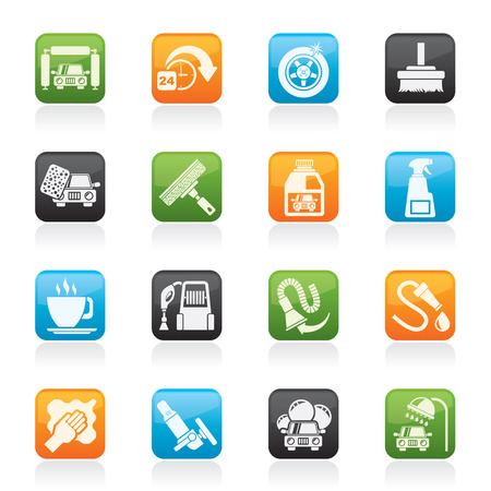 car wash objects and icons - vector icon set Illustration