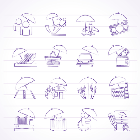 insurance, risk and business icons - vector icon set Vector