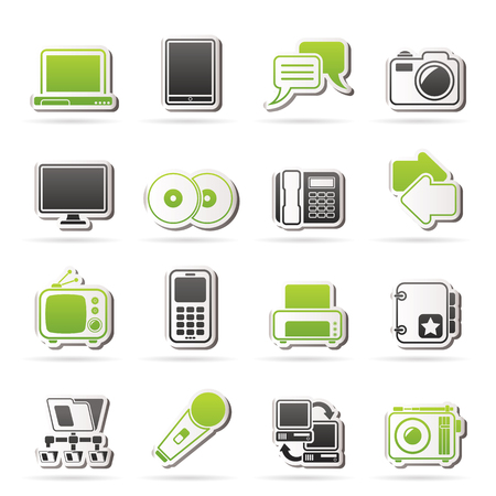 digital tablet: Communication and connection technology icons - vector icon set