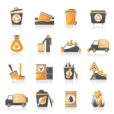 contaminacion del agua: Basura y la basura iconos - icono de vector Vectores