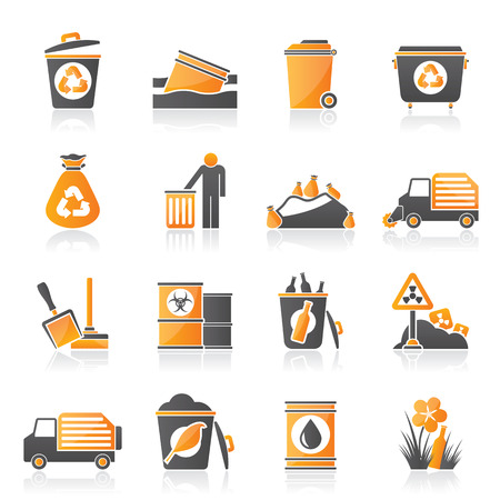 trashing: Garbage and rubbish icons - vector icon set Illustration
