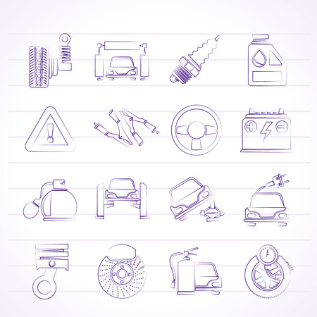 Car and road services icons - vector icon set Stock Vector - 23241327