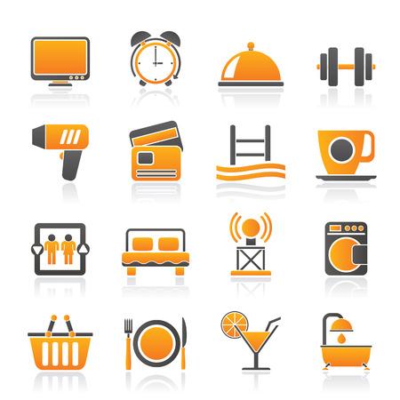 facilities: Hotel and Motel facilities icons - vector icon set