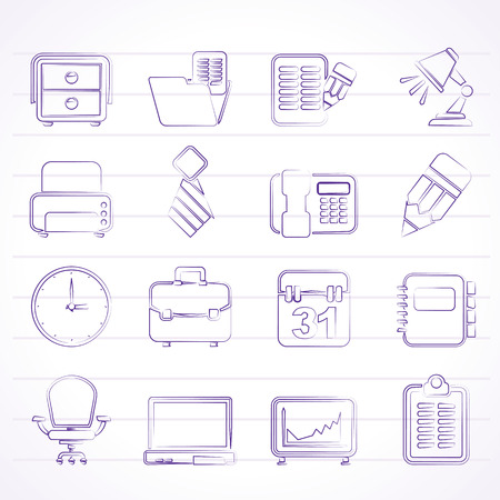 Business and office equipment icons - vector icon set Stock Vector - 23241372