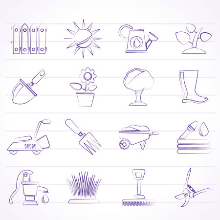 Gardening tools and objects icons - vector icon set Vector