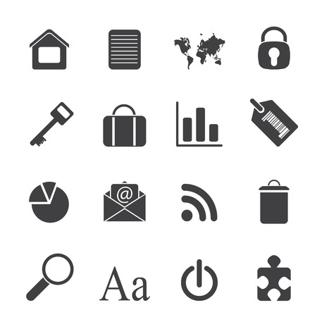 Silhouette Simple Business and Internet Icons - Vector Icon Set Vector