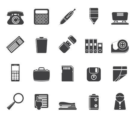 Silhouette Simple Office tools Icons vector icon set 3 Vector