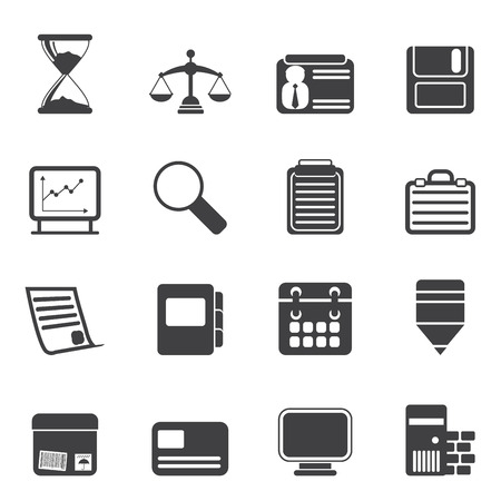 Silhouette Business and office  Icons  vector icon set Stock Vector - 23356679