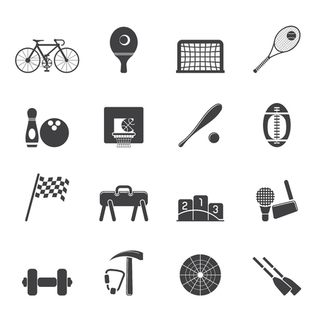 oar: Silhouette Simple Sports gear and tools icons - vector icon set