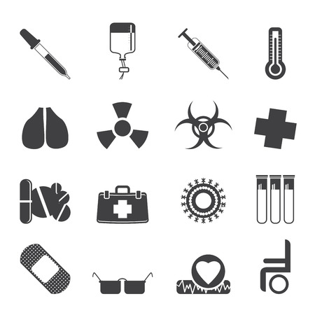 Silhouette collection of  medical themed icons and warning-signs - Vector Icon Set Stock Vector - 23356697