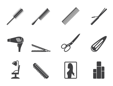 Silhouette hairdressing, coiffure and make-up icons - vector Icon Set