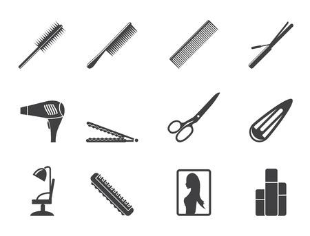make up brush: Silueta de peluquer�a, peinado y maquillaje de iconos - vector Icon Set