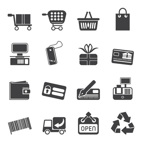 pocket book: Silhouette Simple Online Shop icons - Vector Icon Set  Illustration