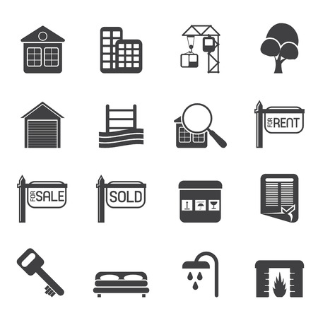 estate car: Silhouette Simple Real Estate Icons - Vector Icon Set