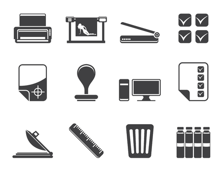 Silhouette Print industry Icons - Vector icon set Stock Vector - 23356726