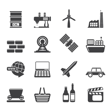 Silhouette Simple Business and industry icons - Vector Icon Set Vector