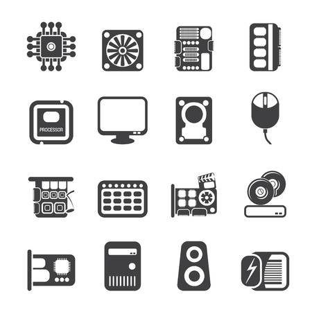Silhouette Computer Performance and Equipment Icons - Vector Icon Set Vector