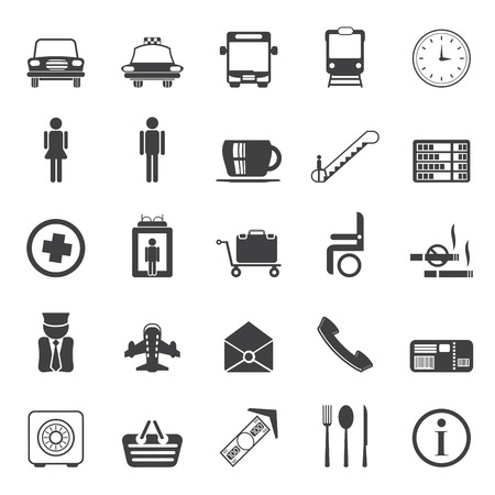 Silhouette Airport, travel and transportation vector icon set Vector
