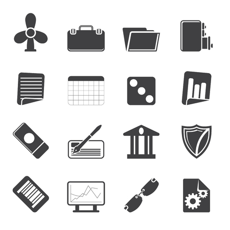 file cabinet: Silhouette Business and Office Icons - Vector Icon Set 2