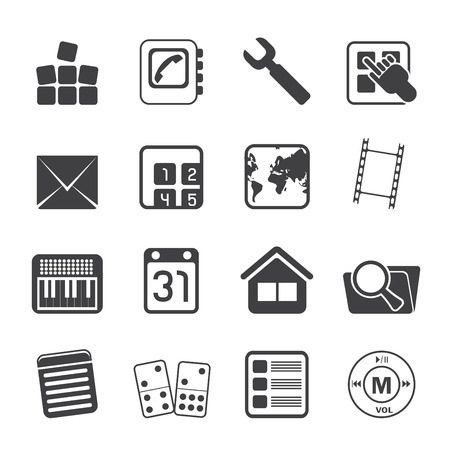 Silhouette Mobile Phone and Computer icon - Vector Icon Set Stock Vector - 23356771