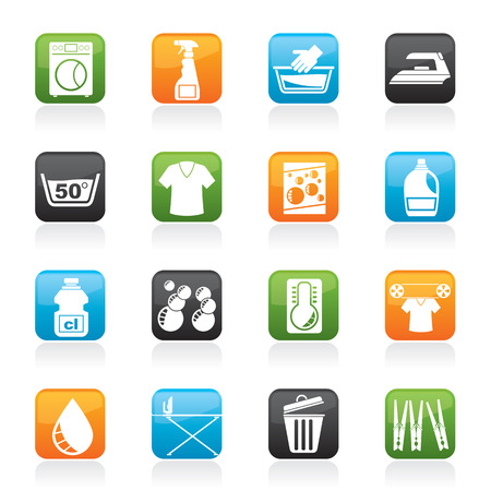 Washing machine and laundry icons - icon set Vector