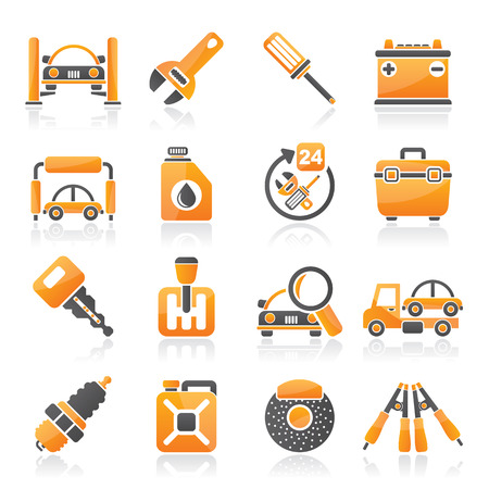 Car parts and services icons - icon set 1 Stock Vector - 23654733
