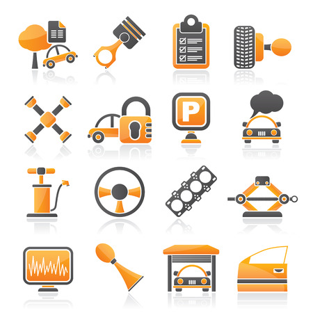 trees services: Car parts and services icons - icon set 2