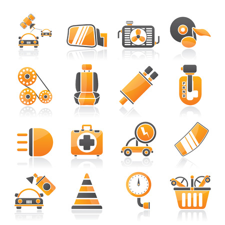 automatic transmission: Car parts and services icons - icon set 3