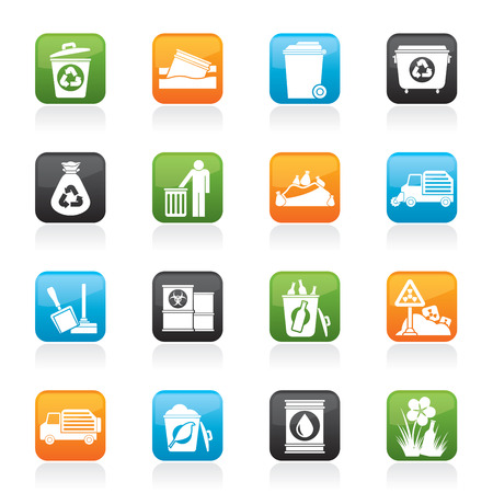 Garbage and rubbish icons - icon set Vector