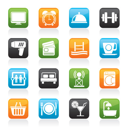 Hotel and Motel facilities icons - icon set Vector