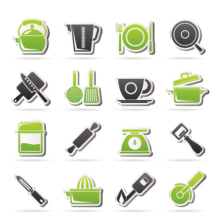 trencher: kitchen gadgets and equipment icons - icon set