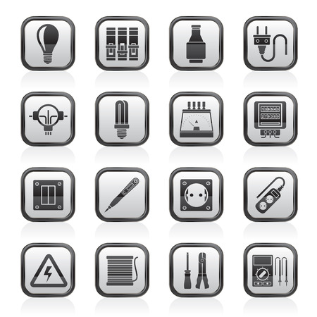 Electrical devices and equipment icons - vector icon set Vector